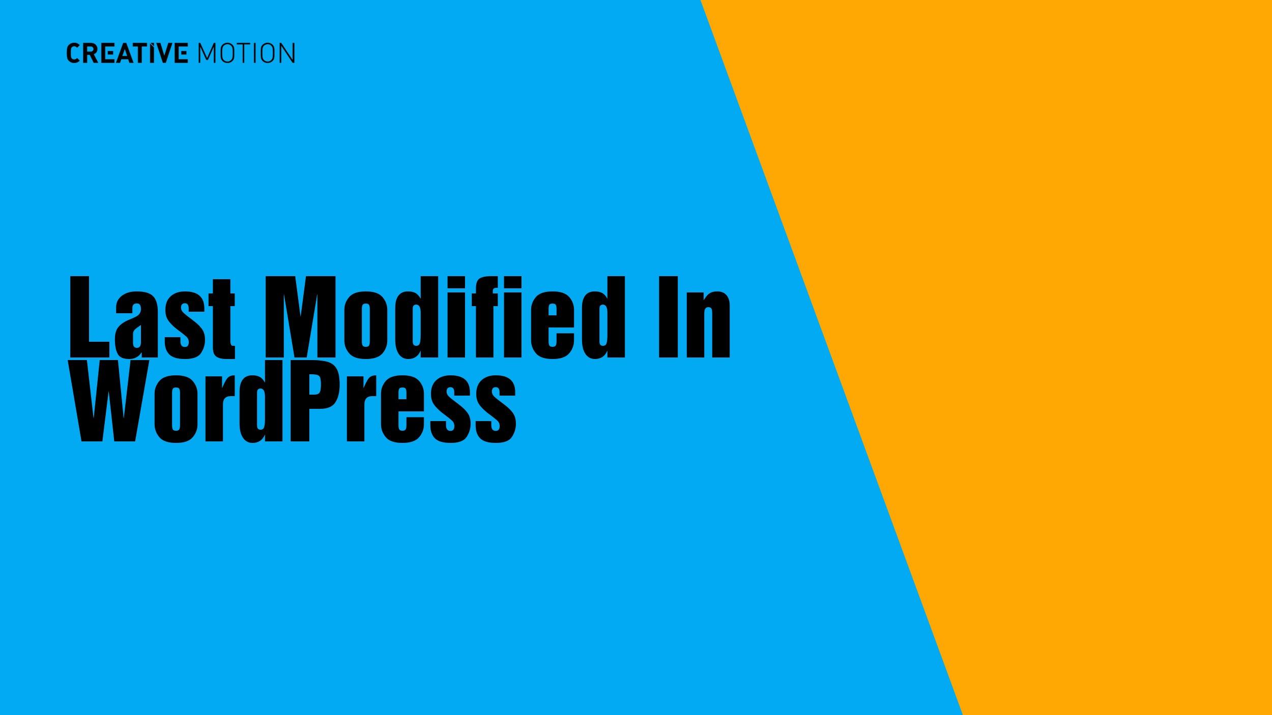 Last Modified In WordPress