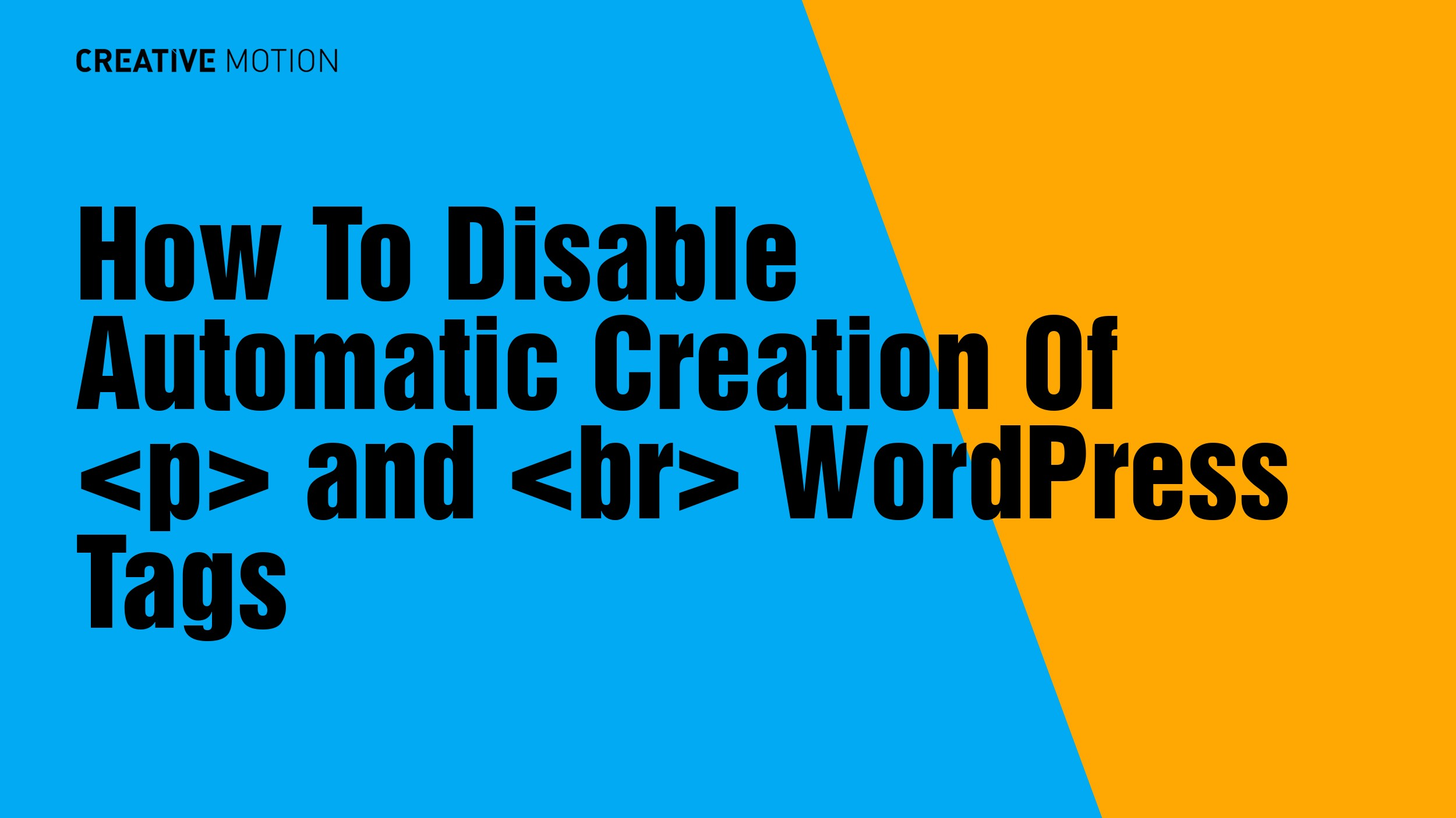 How To Disable Automatic Creation Of <p> and <br> WordPress Tags